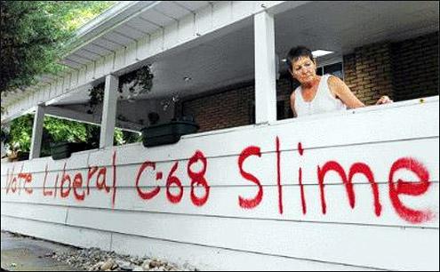 Anti-Liberal, C-68 graffiti in Guelph