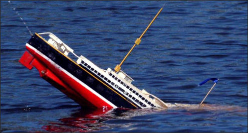 Uh-oh! The SS Harper is sinking!